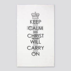 Keep Calm and Christ will carry on 3'x5' Area Rug