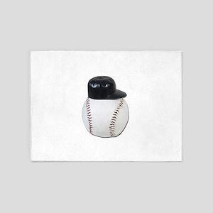 Baseball Ball wearing Baseball Hat 5'x7'Area Rug