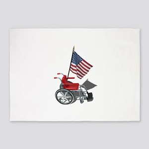 American Flag and Wheelchair 5'x7'Area Rug