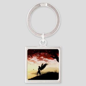 Angel at Dawn Square Keychain