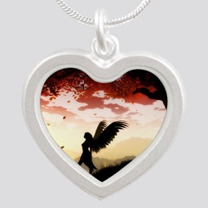 Angel at Dawn Silver Heart Necklace