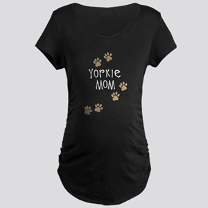 yorkie mom wh Maternity T-Shirt