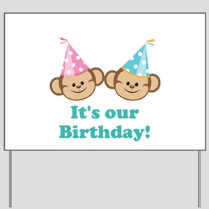 Twins Birthday Monkeys Yard Sign