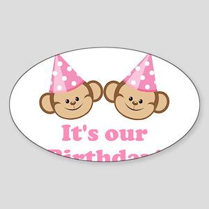 Twins Birthday Monkeys Girls Sticker