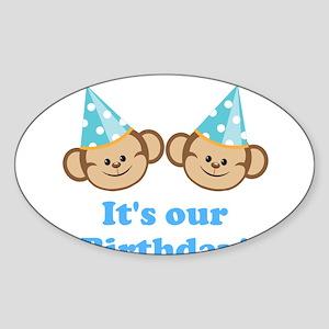 Twins Birthday Monkeys Boys Sticker