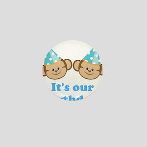 Twins Birthday Monkeys Boys Mini Button