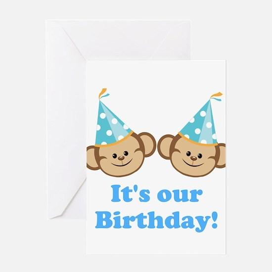 Twins Birthday Monkeys Boys Greeting Card