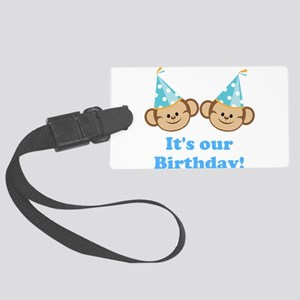 Twins Birthday Monkeys Boys Luggage Tag