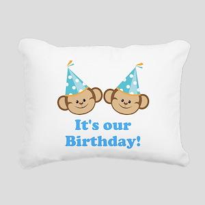 Twins Birthday Monkeys Boys Rectangular Canvas Pil