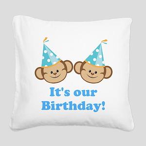 Twins Birthday Monkeys Boys Square Canvas Pillow
