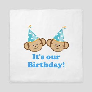Twins Birthday Monkeys Boys Queen Duvet