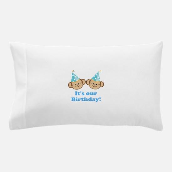 Twins Birthday Monkeys Boys Pillow Case