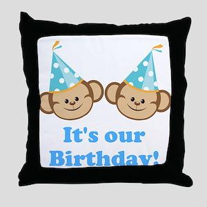 Twins Birthday Monkeys Boys Throw Pillow