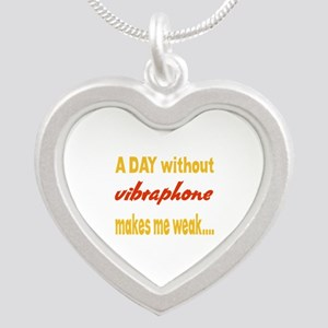 A day without Vibraphone Mak Silver Heart Necklace
