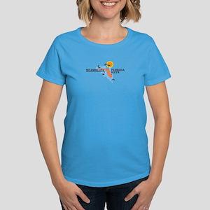 Islamorada - Map Design. Women's Dark T-Shirt