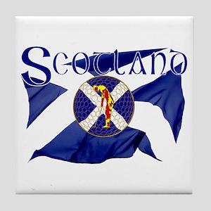 Scotland golf flag Tile Coaster