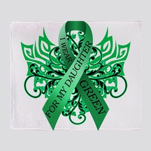 I Wear Green for my Daughter Throw Blanket