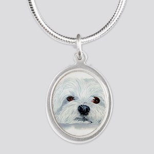 Bogart the Maltese Silver Oval Necklace