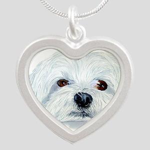Bogart the Maltese Silver Heart Necklace