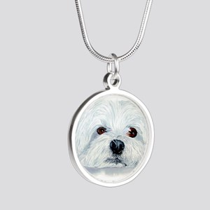 Bogart the Maltese Silver Round Necklace