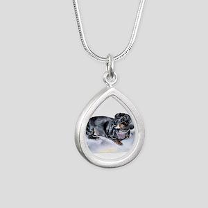 Annie the Dachshund Silver Teardrop Necklace