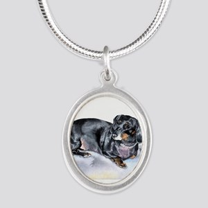 Annie the Dachshund Silver Oval Necklace