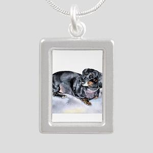 Annie the Dachshund Silver Portrait Necklace