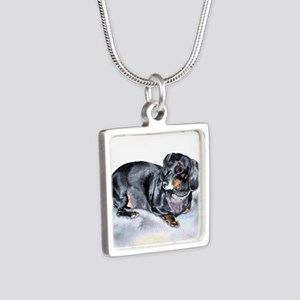 Annie the Dachshund Silver Square Necklace