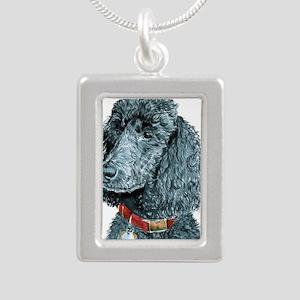 Black Poodle Whitney Silver Portrait Necklace