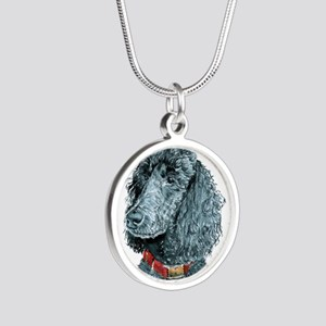 Black Poodle Whitney Silver Round Necklace