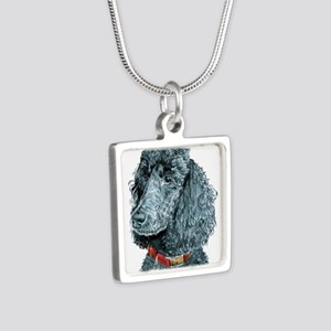 Black Poodle Whitney Silver Square Necklace
