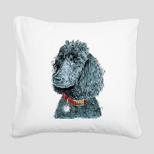 Black Poodle Whitney Square Canvas Pillow