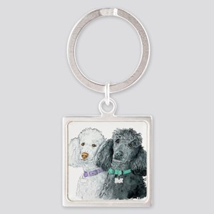 Two Poodles Square Keychain