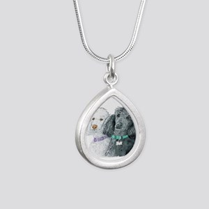 Two Poodles Silver Teardrop Necklace
