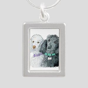 Two Poodles Silver Portrait Necklace