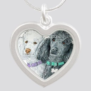 Two Poodles Silver Heart Necklace