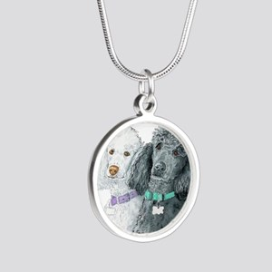 Two Poodles Silver Round Necklace