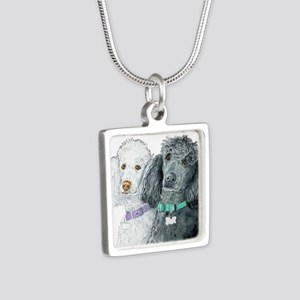 Two Poodles Silver Square Necklace