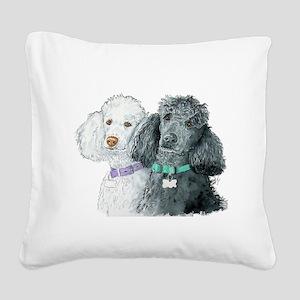 Two Poodles Square Canvas Pillow