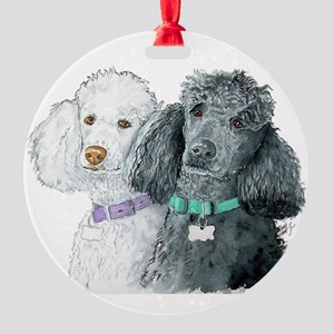 Two Poodles Round Ornament