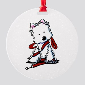 LET'S GO! Westie Round Ornament