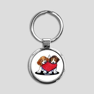 Beagle Heartfelt Duo Round Keychain