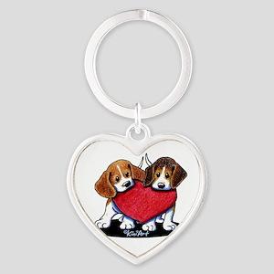 Beagle Heartfelt Duo Heart Keychain