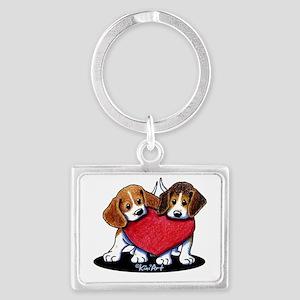 Beagle Heartfelt Duo Landscape Keychain