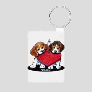 Beagle Heartfelt Duo Aluminum Photo Keychain