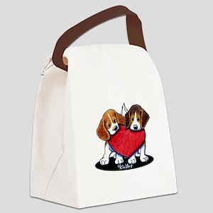 Beagle Heartfelt Duo Canvas Lunch Bag