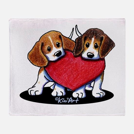 Beagle Heartfelt Duo Throw Blanket