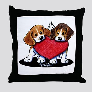 Beagle Heartfelt Duo Throw Pillow