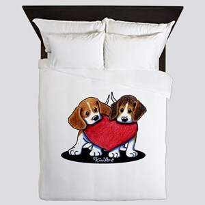 Beagle Heartfelt Duo Queen Duvet