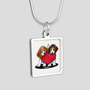 Beagle Heartfelt Duo Silver Square Necklace